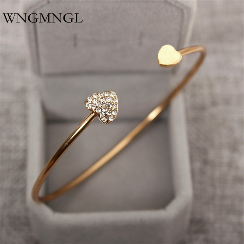WNGMNGL 2018 Hot sales femmes Opening Bangles Charm Statement Heart Crystal Bracelets & For Women Fashion Jewelry Gift