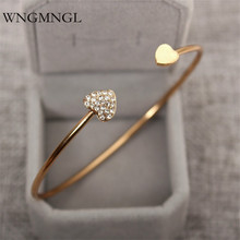 WNGMNGL 2018 Hot sales femmes Opening Bangles Charm Statement Heart Crystal Bracelets & For Women Fashion Jewelry Gift