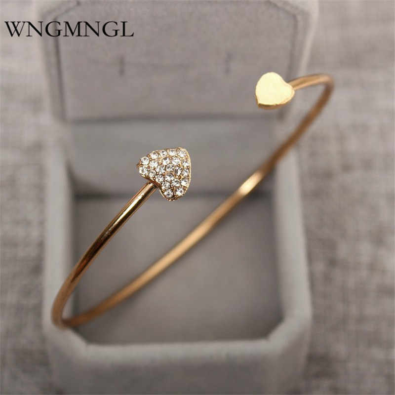 WNGMNGL 2018 חמה מכירות femmes פתיחת צמידי קסם הצהרת לב קריסטל צמידים וצמידים לנשים תכשיטים מתנה