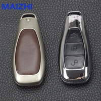 Zinc Alloy Leather Car Key Case Cover For Ford Fiesta Focus Mondeo Ecosport Kuga Focus St