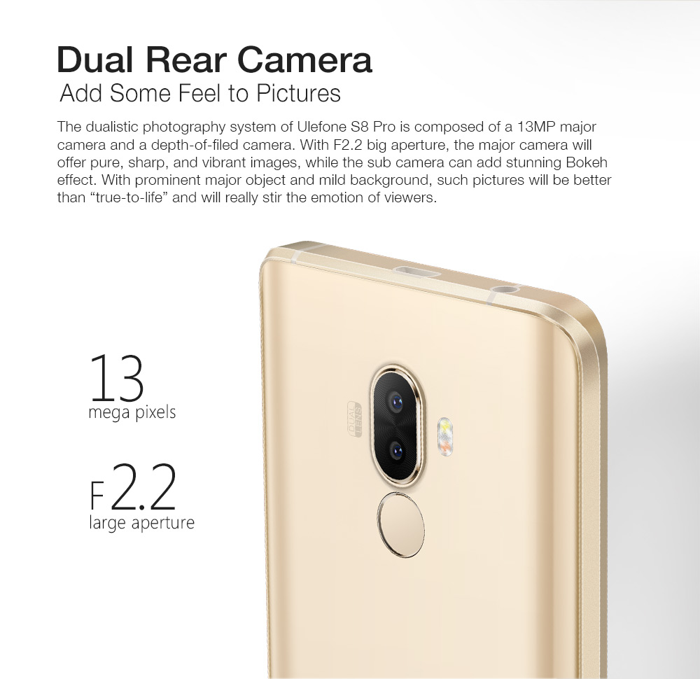 Ulefone S8 Pro Smartphone Dual Cameras Mobile Phone 5.3 inch HD MTK6737 Quad Core Android 7.0 2GB+16GB Fingerprint ID Cellphone - 2