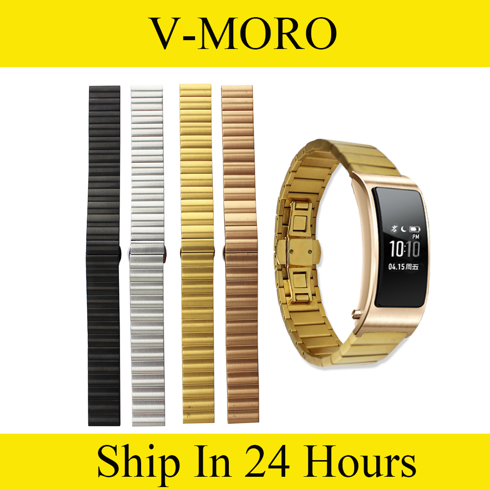 V-MORO Stainless Steel Replacement Huawei B3 Watch Band Butterfly Link Buckle Wrist Strap For Huawei B3 Talkband replacement genuine leather wrist watchband strap for huawei talkband b3 watch