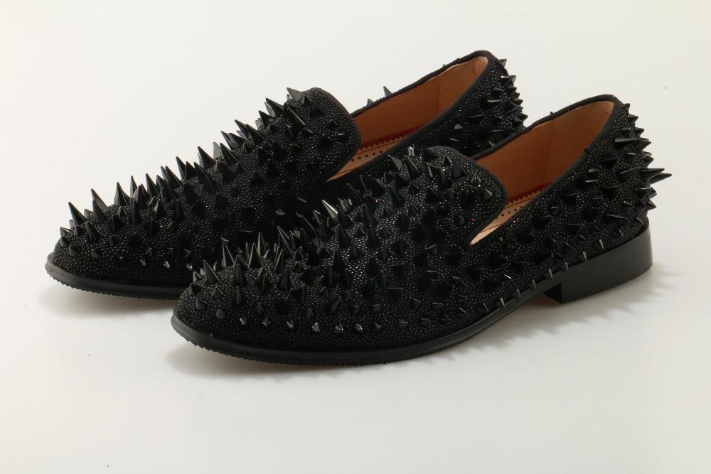 2018 заклепки Мужские модельные туфли Осень модные кожаные туфли для Для мужчин высокое качество Повседневное Мужская обувь Туфли без каблук... - 3