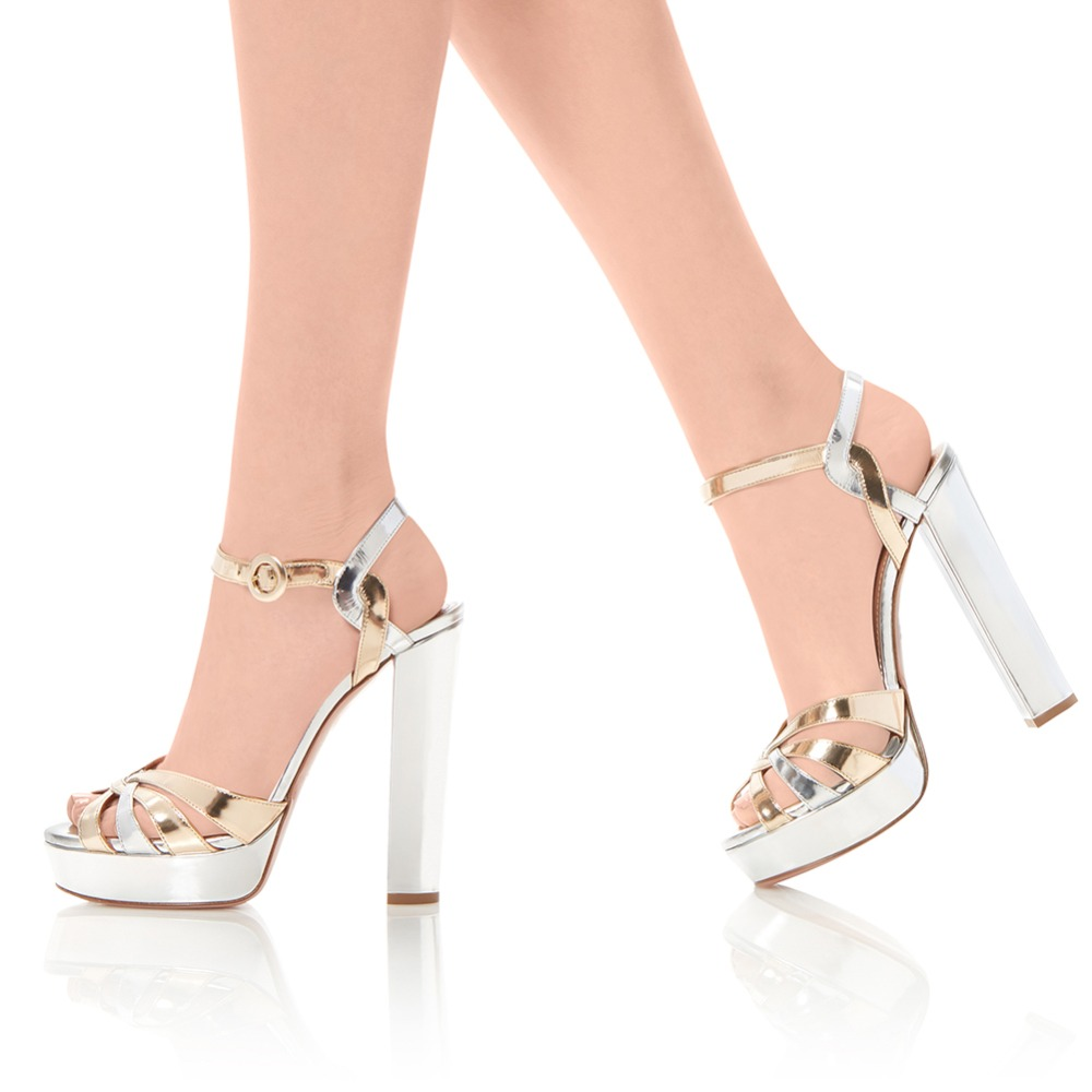 c6783522d7d Gold Sliver Patent Leather Platforms Women Strappy Sandals Peep Toe Chunky  Heel Evening Dress Heels Ladies Summer Shoes-in High Heels from Shoes on ...