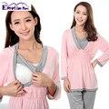 Emoción Mamás ropa de maternidad de maternidad camisón ropa de noche para las mujeres embarazadas lactancia embarazo enfermería pijamas set