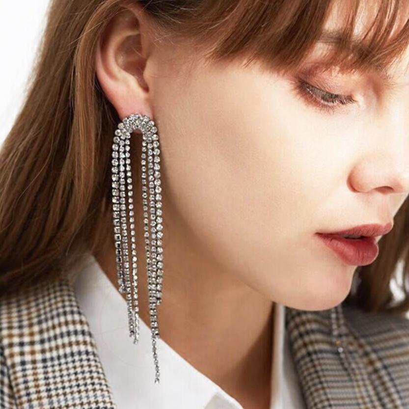 Diamante Rhinestone Strip Long Earrings Silver Color Full CZ Crystal Dangle Earrings For Women Fashion Bridal Jewelry