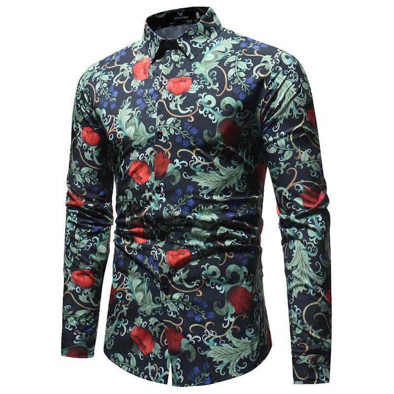 3D Цветочный принт рубашка с длинными рукавами Для мужчин 2018 Фирменная Новинка гавайская рубашка Для мужчин s Повседневное пуговицах рубашка Camisa социальной Masculina