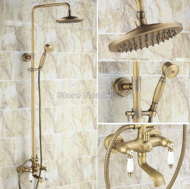Wall Mount Antique Brass Bathroom Ceramic Handles Rain Shower Faucet Set  With 8 Inch Shower Head