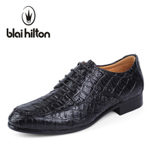 Blaibilton Luxury Men Shoes Genuine Leather Italian Formal Shoes Suit Casual Oxford Classic Male Alligator Patter Business Dress