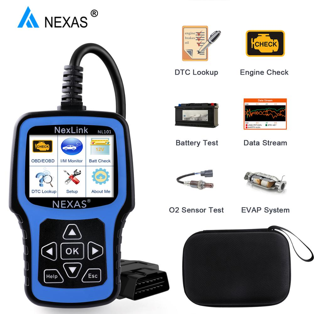 NEXAS NL101 OBD2 Automotive Scanner Engine EVAP Battery OBDII Scanner PK CR3001 ELM327 Professional EOBD OBD Car Diagnostic Tool-in Engine Analyzer from Automobiles & Motorcycles