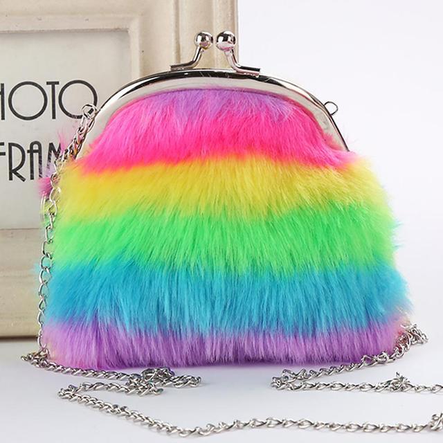 Fofo Chaveiro Colorido Stripe Mini Ornamento Do Saco Bolsa Da Moeda Bolsa de Cadeia Longa carteira das crianças bolsa de moedas das mulheres moda