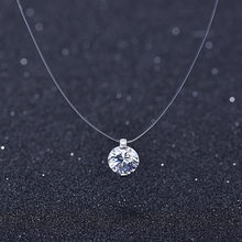 2018 Silver color Dazzling Zircon Necklace And Invisible Transparent Fishing Line Simple Pendant Necklace Jewelry(China)