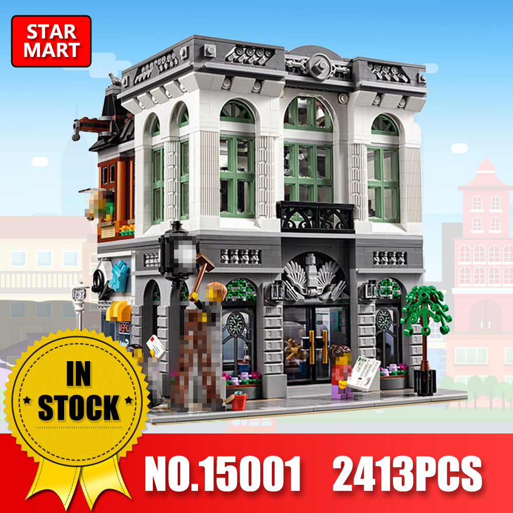 LEPIN 15001 2413Pcs City Street Creator Bank Model Building Kits Blocks Bricks Toy For Boys LegoINGEs 10251 gifts for children
