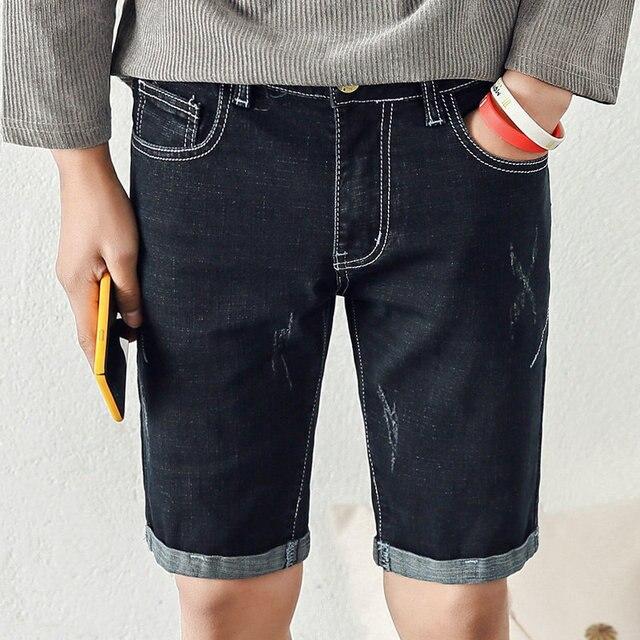 9e8e38aa59 Summer Denim Shorts Men Stretch Slim Fit Short Jeans Mens Designer Cotton  Casual Distressed Shorts Knee Length Pants Blue Black