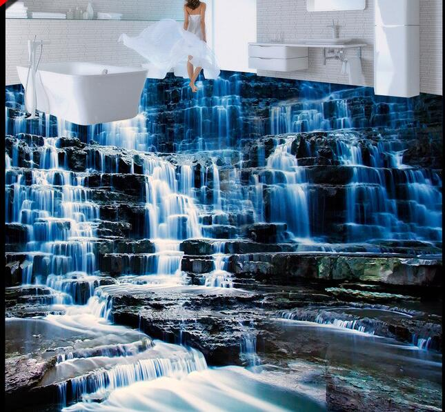 3 d pvc flooring custom  wall paper Hd scenic waterfall water 3 d bathroom flooring mural photo wallpaper for walls 3d