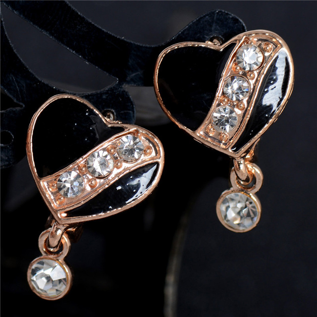 Qcooljly 1pair Lucky Gold Color Warm Heart Australia Rhinestone Clear Crystal Women S Gorgeous Hoop Earrings