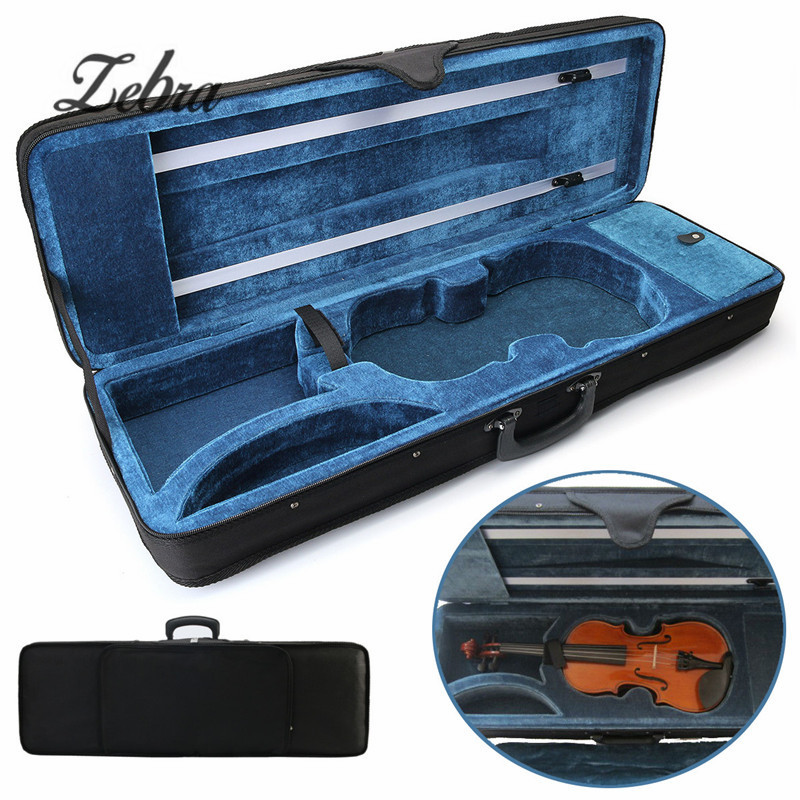 Zebra 4/4 Acoustic Violin Case Cover Fiddle Box Cover For Violin Stringed Instruments Parts Accessories 5pcs professional violin use black 5 prong rubber 4 4 3 4 violin silencers fiddle practice mutes for violin accessories