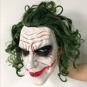 Image 5 - Máscara de Joker película Batman El Caballero Oscuro payaso de terror Cosplay máscaras de látex con Peluca de pelo verde Utilería de miedo disfraz de fiesta de Halloween