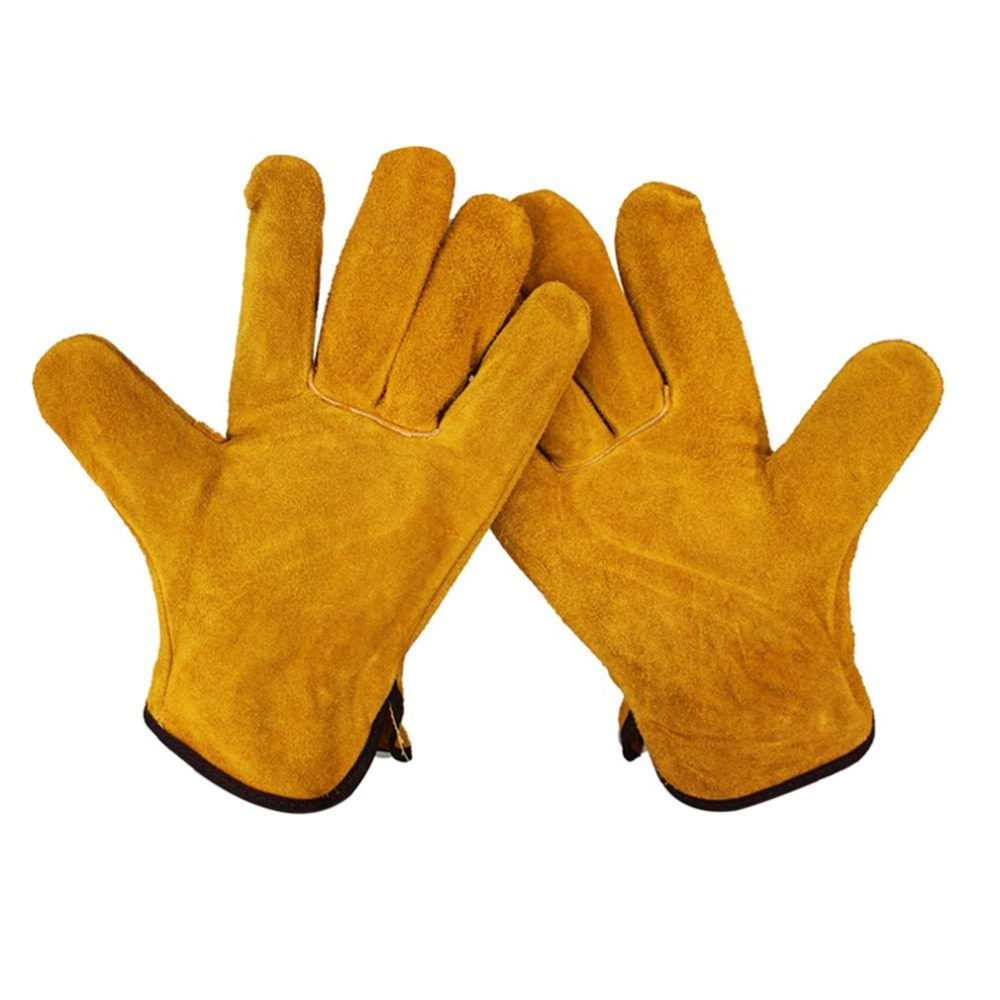 1 Pair XL Work Gloves Fireproof Durable Cow Leather Welder Gloves Anti-Heat Work Safety Gloves For Welding Metal Hand Tools