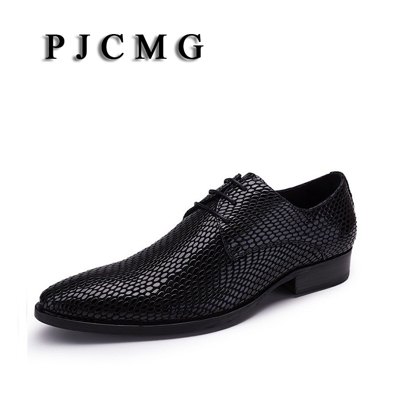 PJCMG New Products Men s Black Red Embossed Leather Pointed Toe Slip On Moccasins Driving Casual