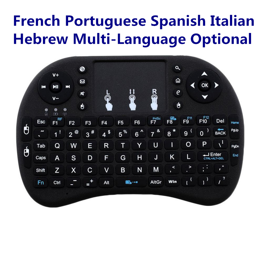 Portable Wireless Mini Keyboard 2.4GHz Touchpad For Android TV Box French Portuguese Spanish Italian Hebrew Language Optional 2 4g mini wireless keyboard touchpad numeric keyboard charging switch screen for desktop laptop table