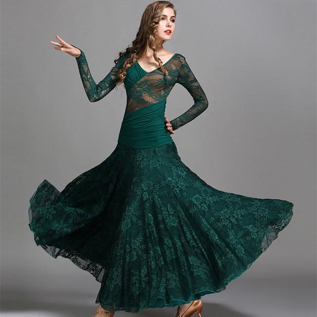 a7d86efee6f8 green waltz dress rumba standard smooth dance dresses Standard social dress  Ballroom dance competition dress fringe black