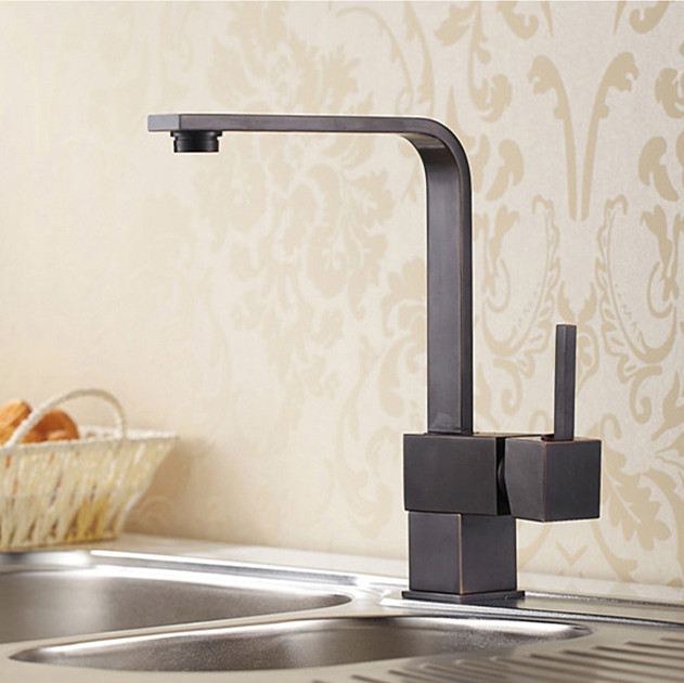 3 Styles Solid Brass Black Finish Kitchen Mixer Cold Hot Water Tap Antique Kitchen 360
