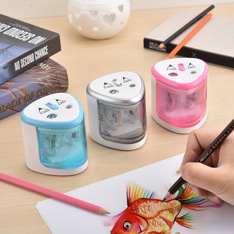 New Two-hole Automatic Electric Pencil Sharpener Sacapuntas Electronic Desktop School Office for 6-8mm and 9-12mm Pencils 2016 new affordable electric pencil sharpener automatic desktop school stationery office kids