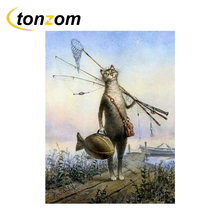 RIHE Cartoon Cat Drawing By Numbers DIY Animal Painting Handwork Cuadros Decoracion Oil Painting Art Coloring Home Decor 2018 new hot chinese coloring watercolor lovely cat animal painting drawing books for adults