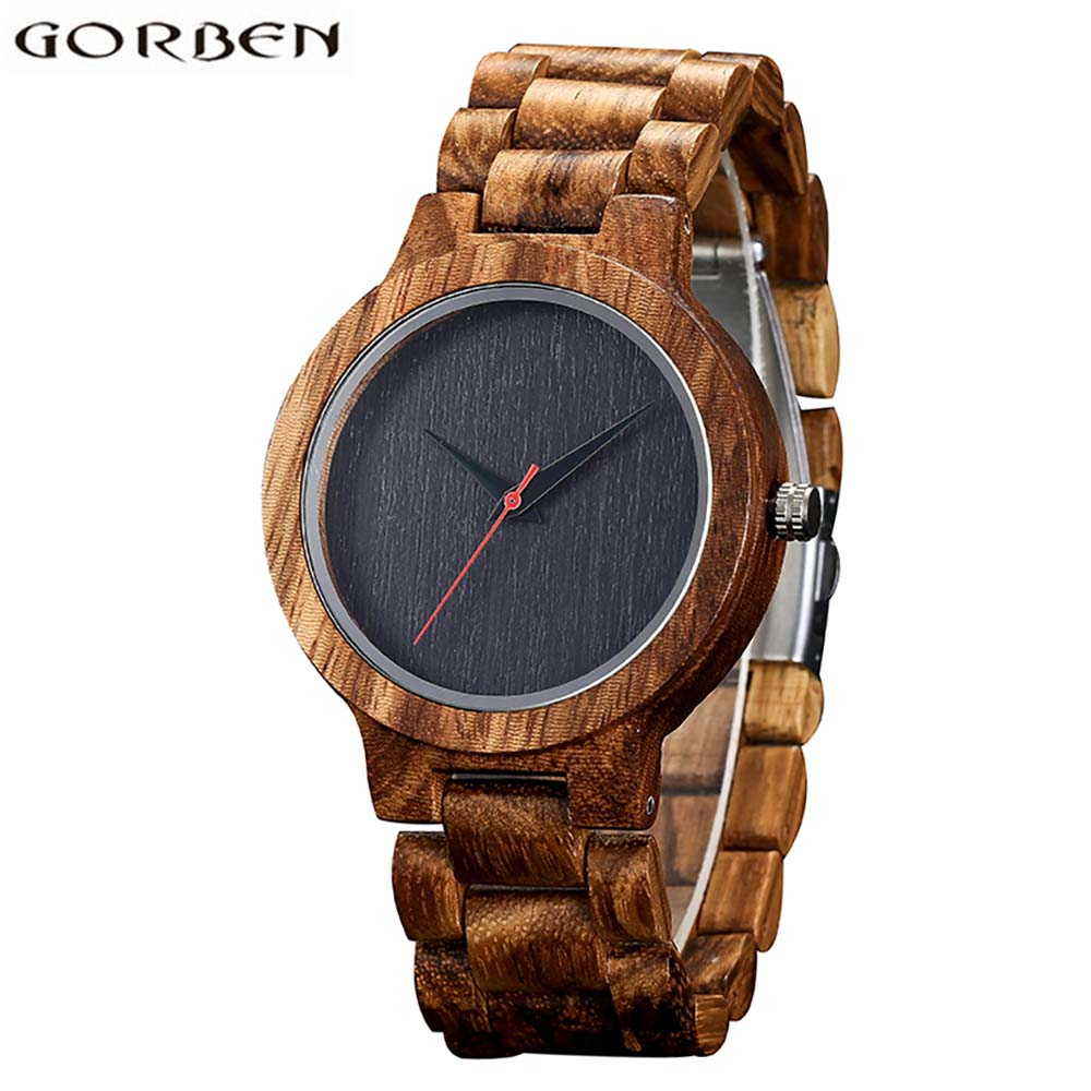 Mens Wood Watch With Zebra Stripes Case Black Dial Wooden Quartz Watches For Men Watch With Gift Box bobo bird wh29 mens zebra wood watch real leather band cool visible quartz wooden watches for men with gift box dropshipping