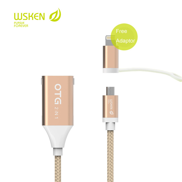 Original WSKEN Micro USB OTG Cable 2 in 1 charging data cable For iPhone Samsung HTC Sony Android Tablet PC MP3/MP4 Smart Phone