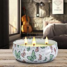 صفيح 14oz وعاء كبير شمعة معطرة زيت طبيعي صديقة للبيئة دخاني ثلاثة الأساسية الروائح ضوء شمعة