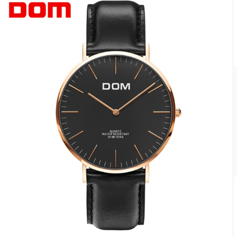 DOM Top Brand Luxury Fashion Male Wristwatch Quartz Leather Watchband Business Watches Waterproof watch Men Watch Clock M-36GL-1 men watch top fashion brand male real leather strap large dial waterproof clock business lens watches hot sale