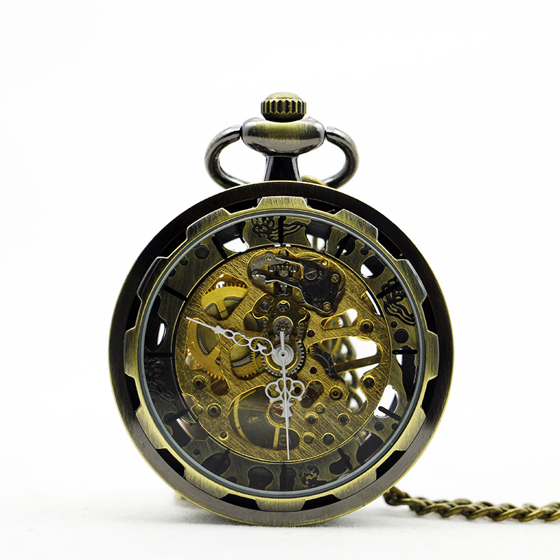 Best Sales Bronze Skeleton Hand Wind Mechanical Pocket Watches Classic Open Face Clock Unisex Best Gifts Vintage Pendant PJX1095