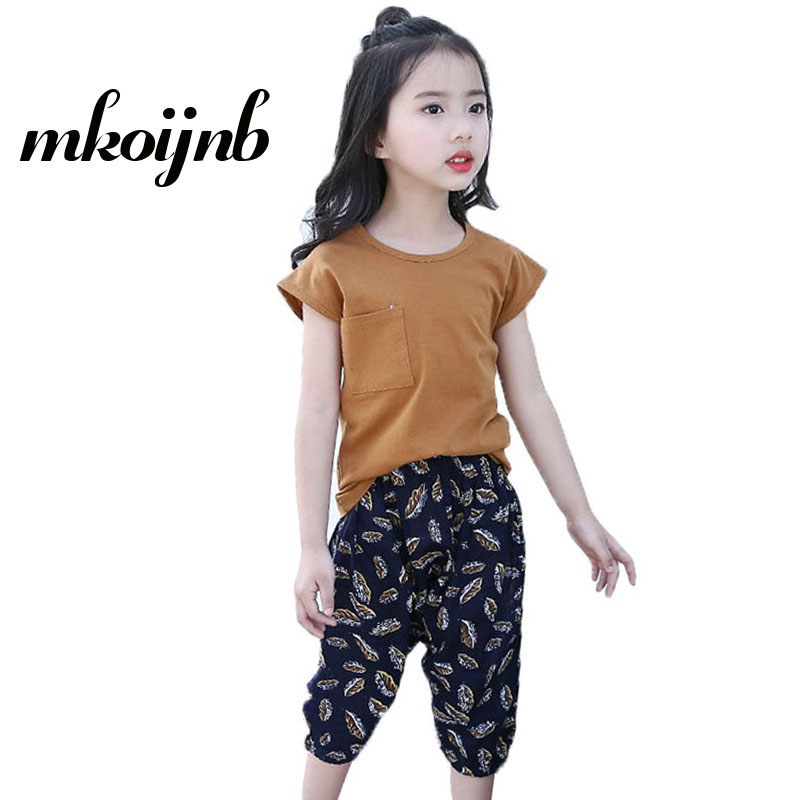2018 New Girls Clothes Set Short Sleeve T-shirt Printing Pants Casual Kids Suits Summer Girls Clothing Set 4 6 8 10 12 Years
