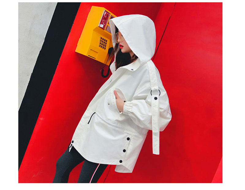 Femmes Mode Capuche vent Automne Manteaux Surdimensionné Blanc Vestes Kaki Kaki À Manteau rouge blanc Taille Coupe Lâche Printemps Drawstring Veste dE0qwdp