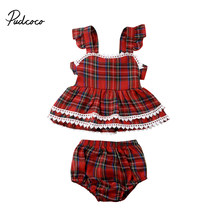 Pudcoco Kleinkind Baby Mädchen Stilvolle Outfits Plaids Print backless Tutu T-shirt Tops Rot Spitze Shorts Kinder Sommer Neue Kleidung Set(China)