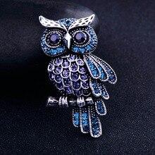 Старинная Женская Мужская сова корейский цинковый сплав трендовая Искусственный горный хрусталь синяя брошь значок рождественские подарки аксессуары