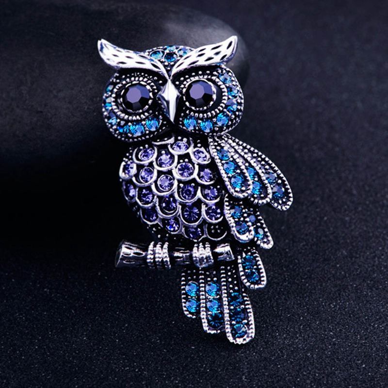 Ancient Women's Men's Owl Korean Zinc Alloy Trendy Imitation Rhinestone Blue Brooch Badge Christmas Gifts Accessories