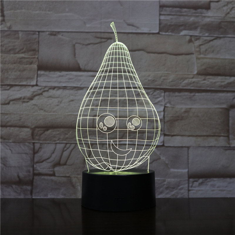 Cartoon Pear 3D Lamp Led Night Light USB Touch RBGW Novelty Lighting Child Kids Baby Gift Gadget Fruit Table Decor Dropshipping