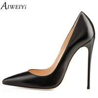 AIWEIYi Brand Shoes Woman Stilettos High Heels Platform Pumps Women Black High Heels 12CM Matte Leather