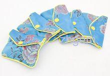 5PCS Blue Silk Cloth Handmade Women's Handbags Clutch Purses 5 Size Different