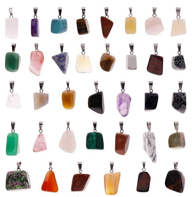 YUTENG 2Pcs Irregular Healing Gemstoen Pendants Charms Crystal Chakra Beads for DIY Necklace Jewelry Making ll888