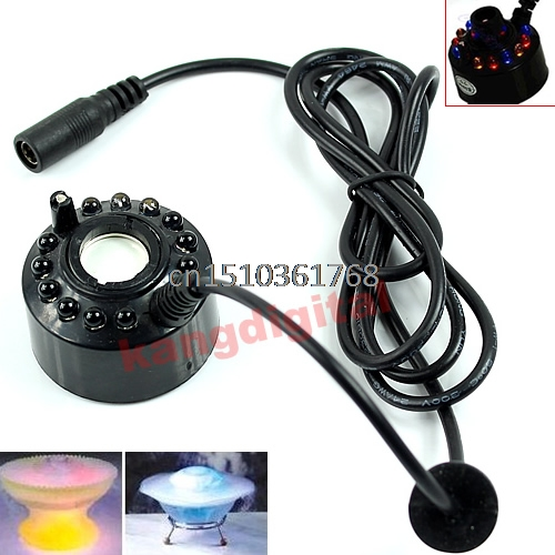 12 LED Ultrasonic Water Fountain Mist Maker Fogger Pond Atomizer Air Humidifier #Y05# #C05#