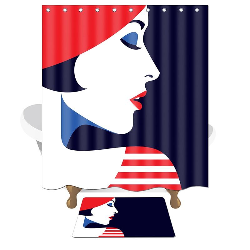 Creative Feather USA Flag Waterproof Fabric Shower Curtain /& Hooks Bathroom Mat