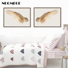 NUOMEGE Nordic Minimalist Wall Art Angel Wings Posters And Prints White Feather Pictures Decorative Paintings For Living Room