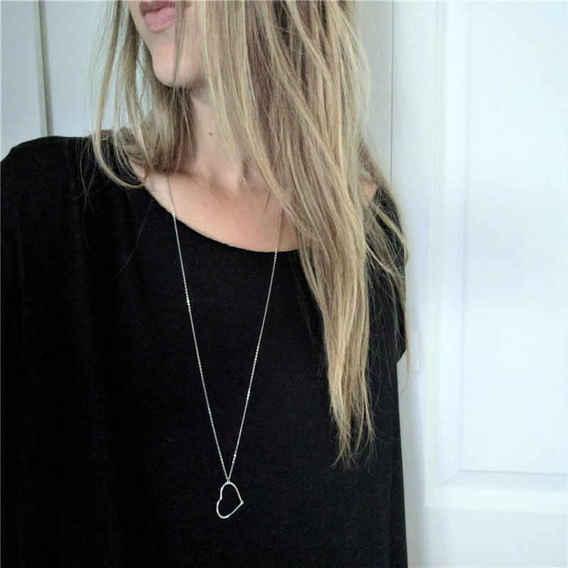 Kobiety Hollow serce naszyjnik wisiorek długi naszyjnik łańcuch wisiorek w kształcie serca biżuteria walentynki prezent