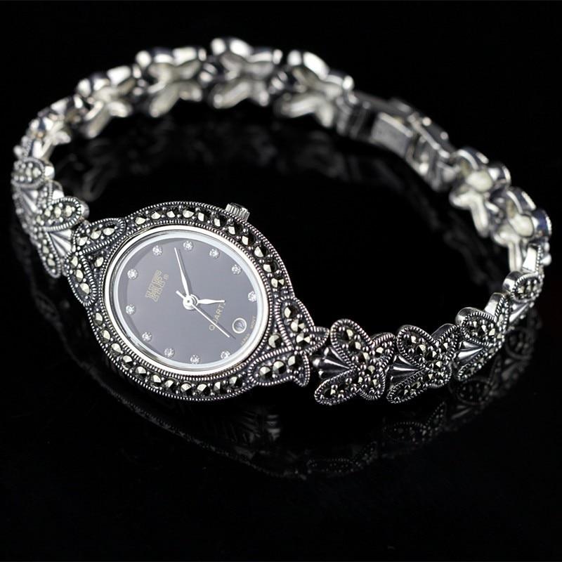Vente chaude qualité papillon Bracelet montre femmes rétro S925 en argent Sterling montre vraie argent bijoux montre