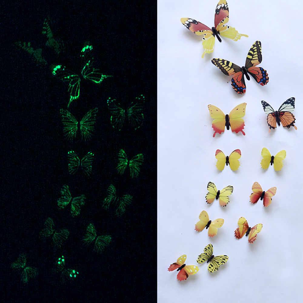 12 Uds. Diseño de mariposa luminosa calcomanía arte pegatinas de pared habitación magnética decoración del hogar diy pegatinas stickertjes decoración de papel tapiz