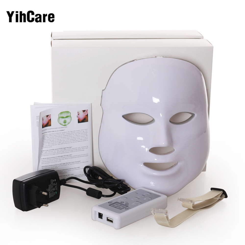 YihCare 3 Color LED Facial Mask With EMS Microelectronics LED Photon Mask Wrinkle Acne Removal Skin Rejuvenation Face Beauty Spa face care diy homemade fruit vegetable crystal collagen powder beauty facial mask maker machine for skin whitening hydrating us